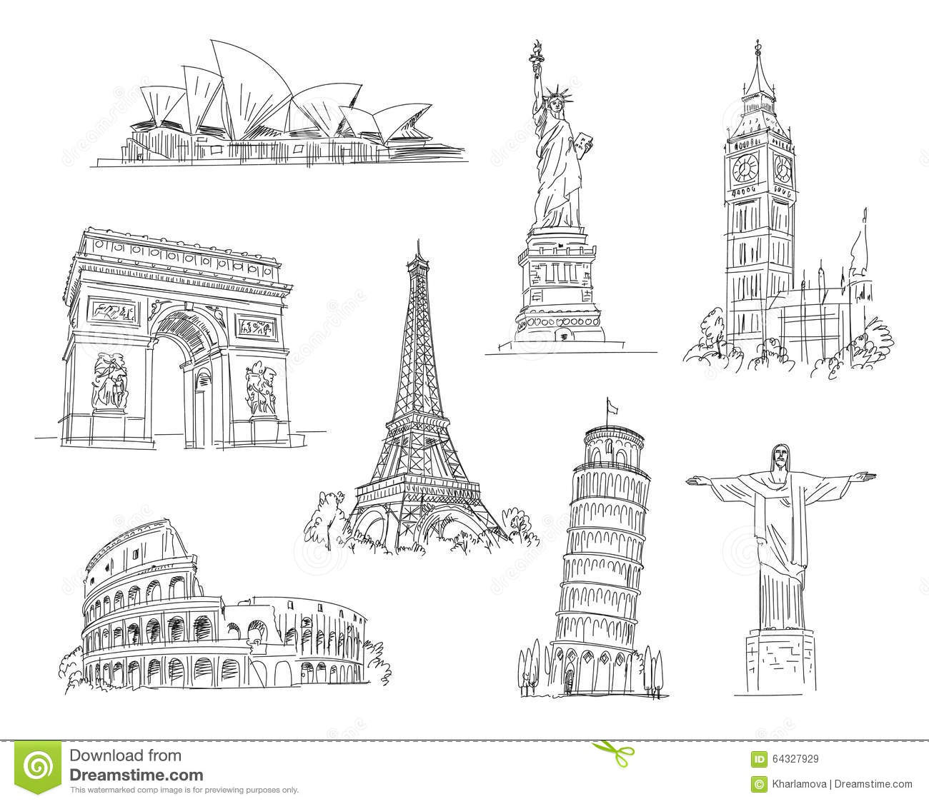 Attractions Of The World Stock Vector. Illustration Of