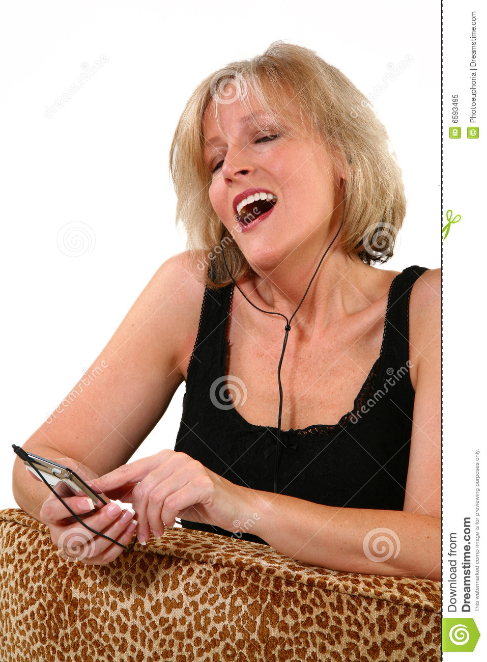 Attractive 40 Year Old Woman Singing Stock Image Image