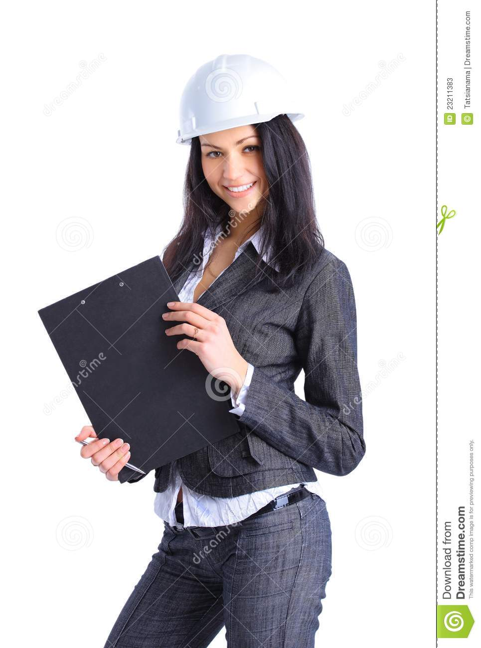 Attractive Architect Girl With Hard Hat Stock Image
