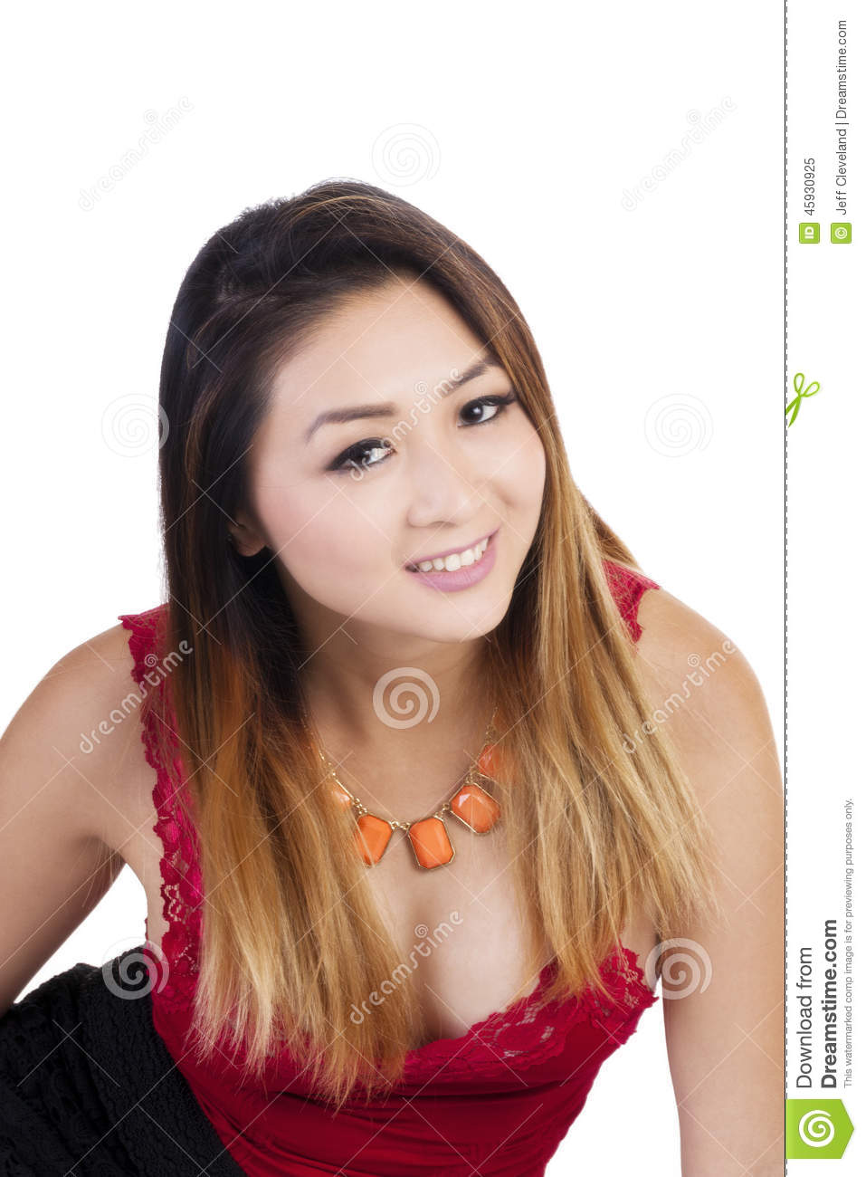 Attractive Asian American Woman Red Top Smiling Stock
