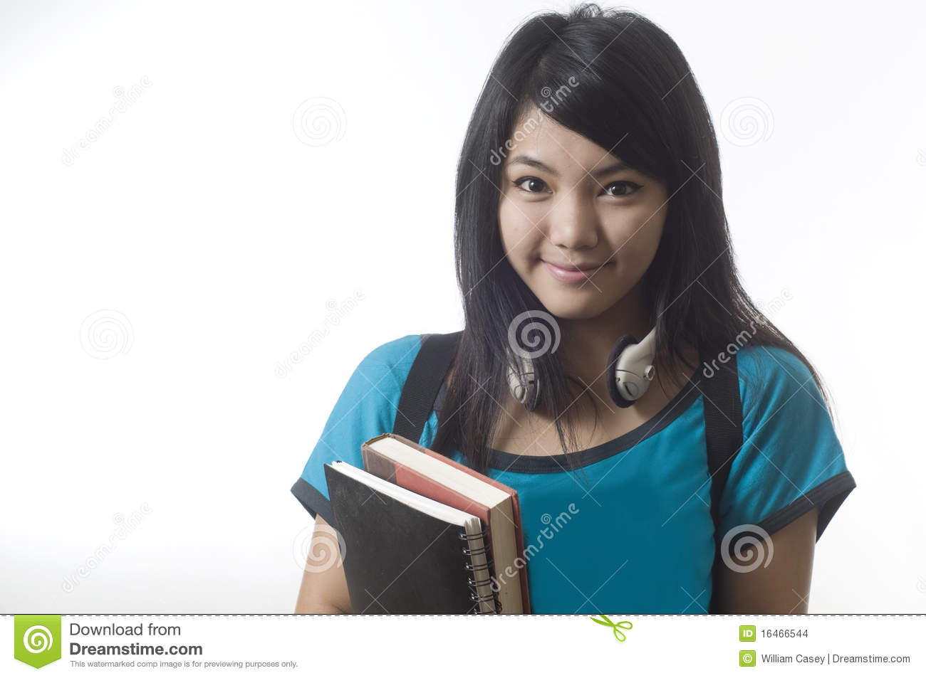 Attractive Asian Girl With School Books Stock Photo Image