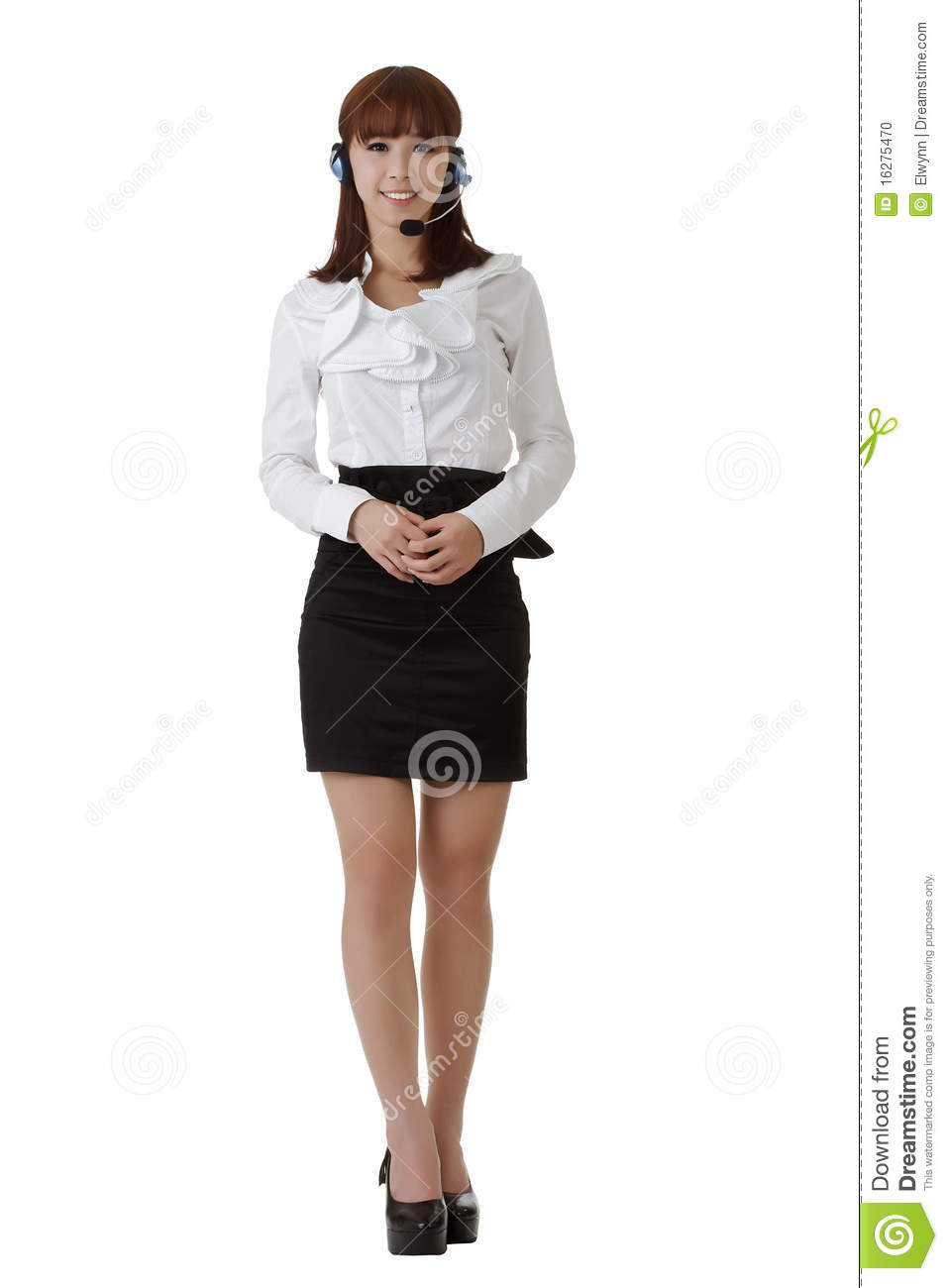 Attractive Asian secretary smiling, full length portrait isolated on ...