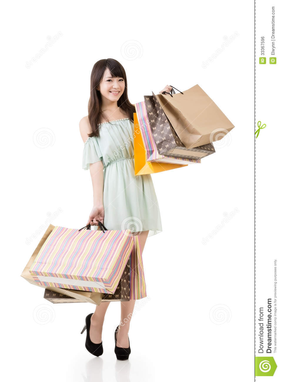 Excellent Woman Holding Bags Stock Photo - Image 59636935
