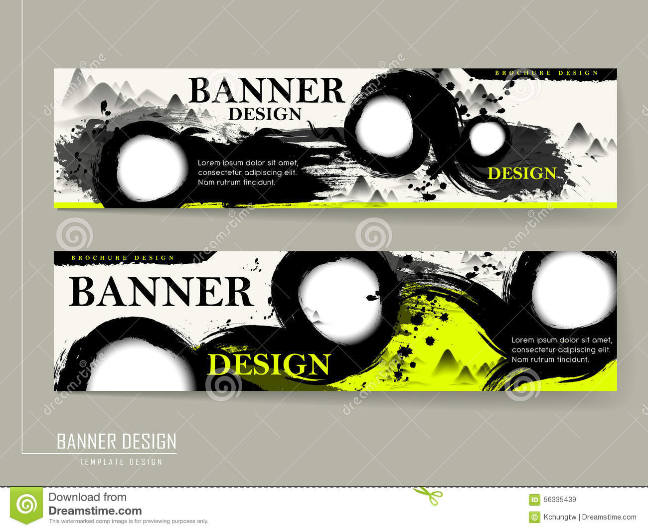 Attractive banner design with calligraphy stroke stock vector