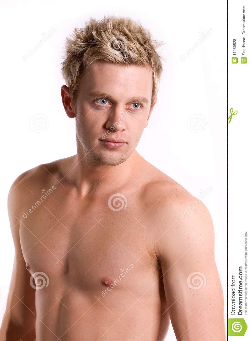 Is Bare Minerals Makeup Cruelty Free: Attractive Bare Chested Young Man. Stock Photo