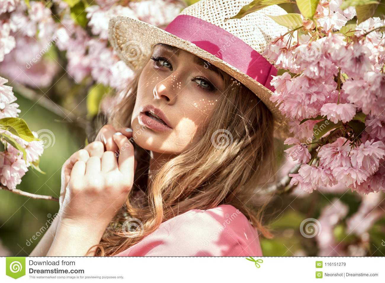Attractive Blonde Girl In Blooming Garden. Stock Image - Image of ...