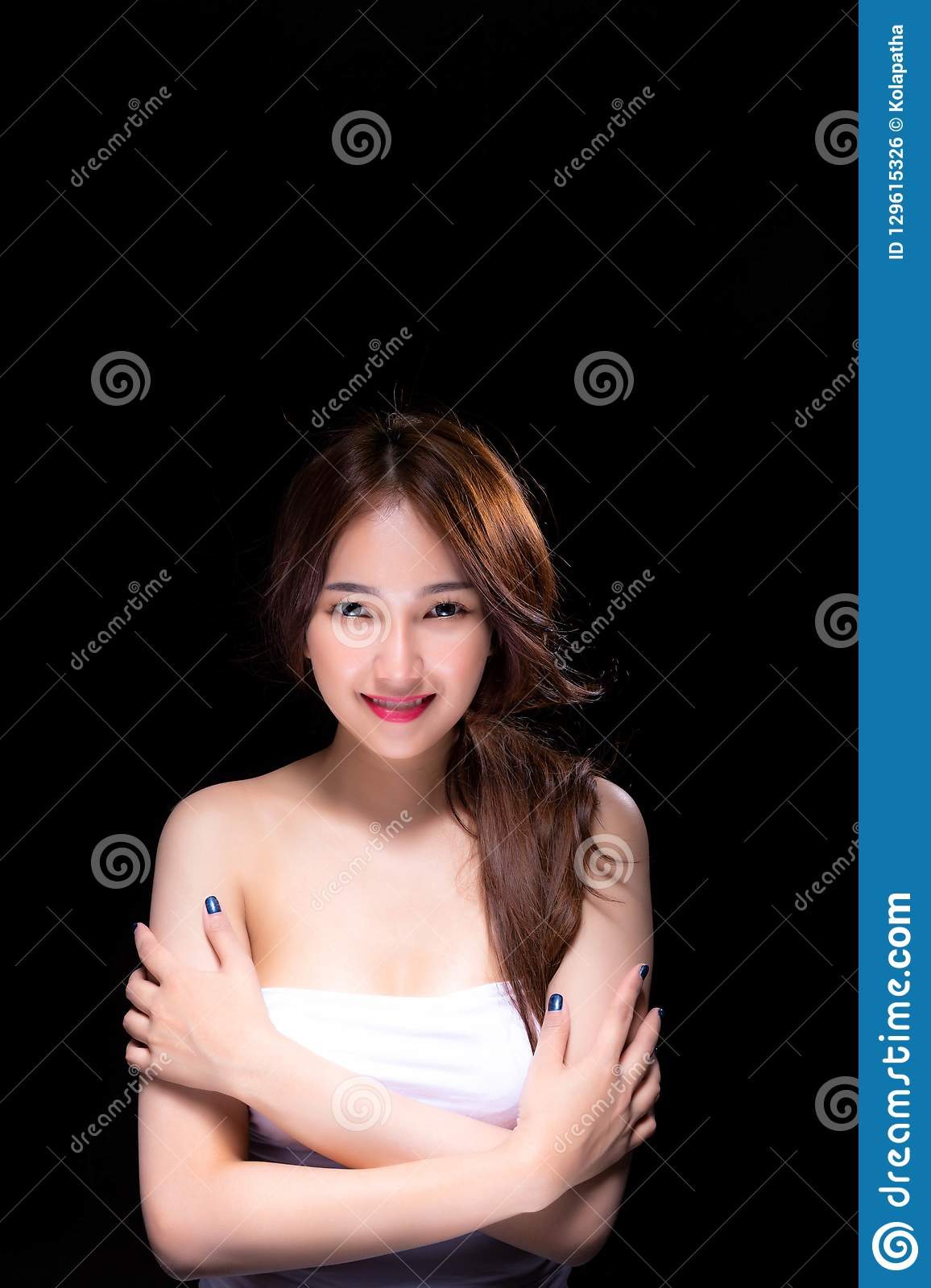 Attractive beautiful woman has beautiful face and nice skin. Charming beautiful young woman has confident and feels happy black b