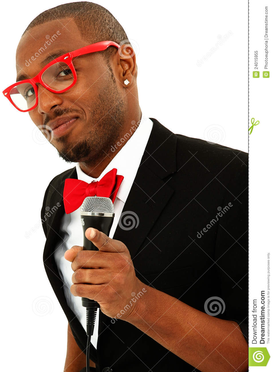Attractive Black Male Singer With Microphone Stock Image ...