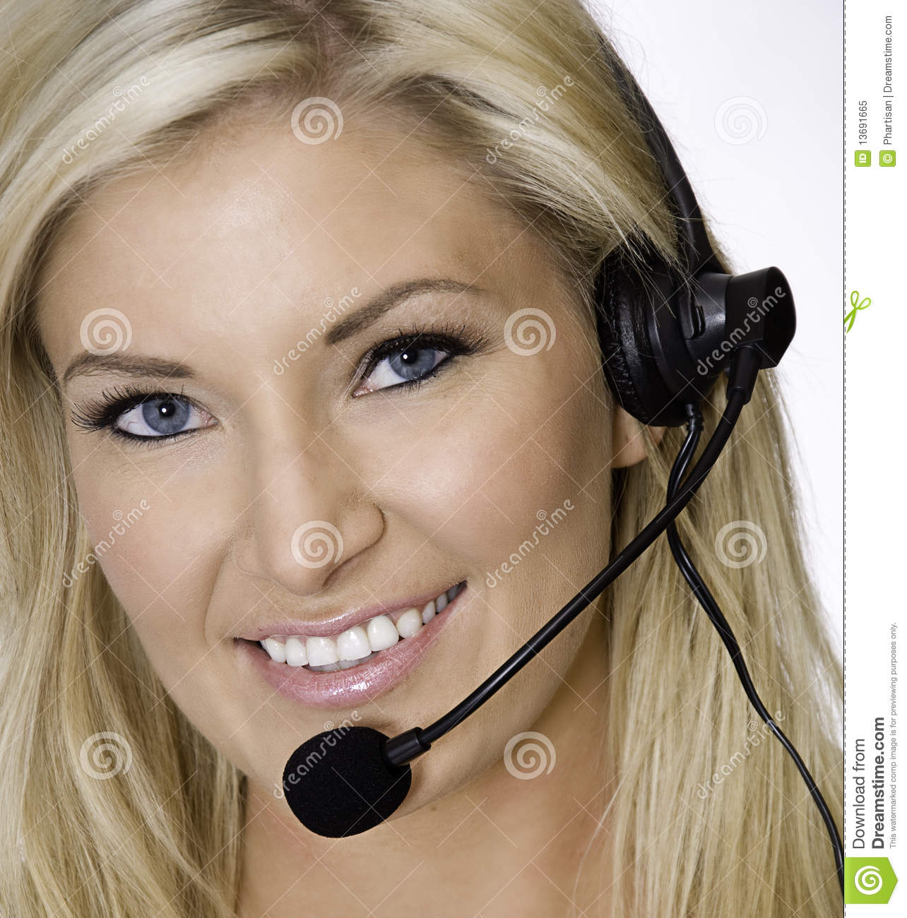 Attractive blond call center rep