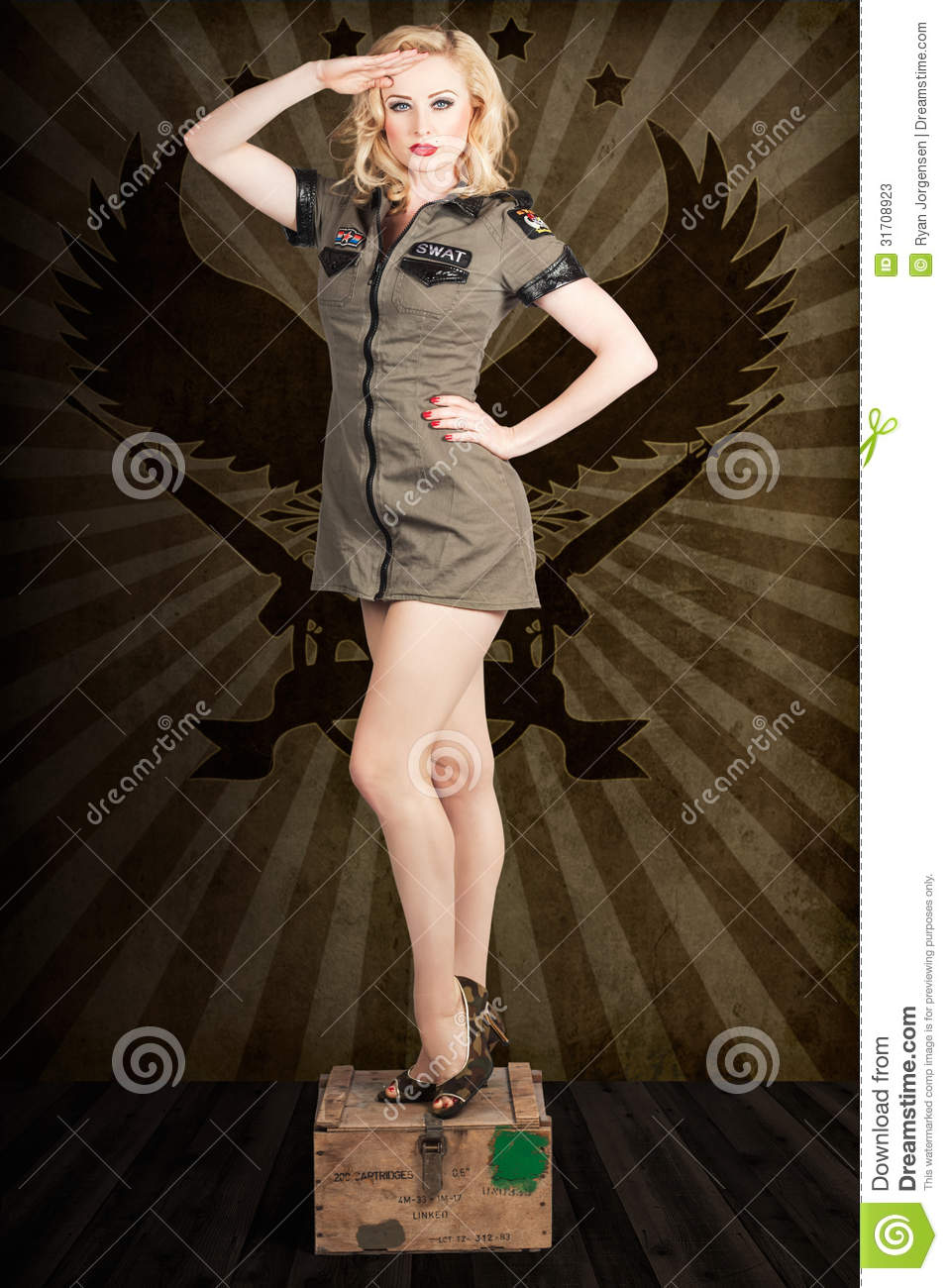 soldiers salutes army girl Naked red