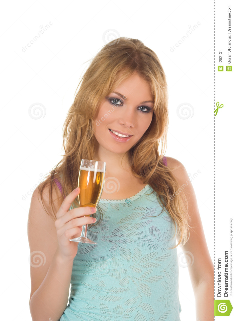 Attractive blondie girl with glass of wine in hand