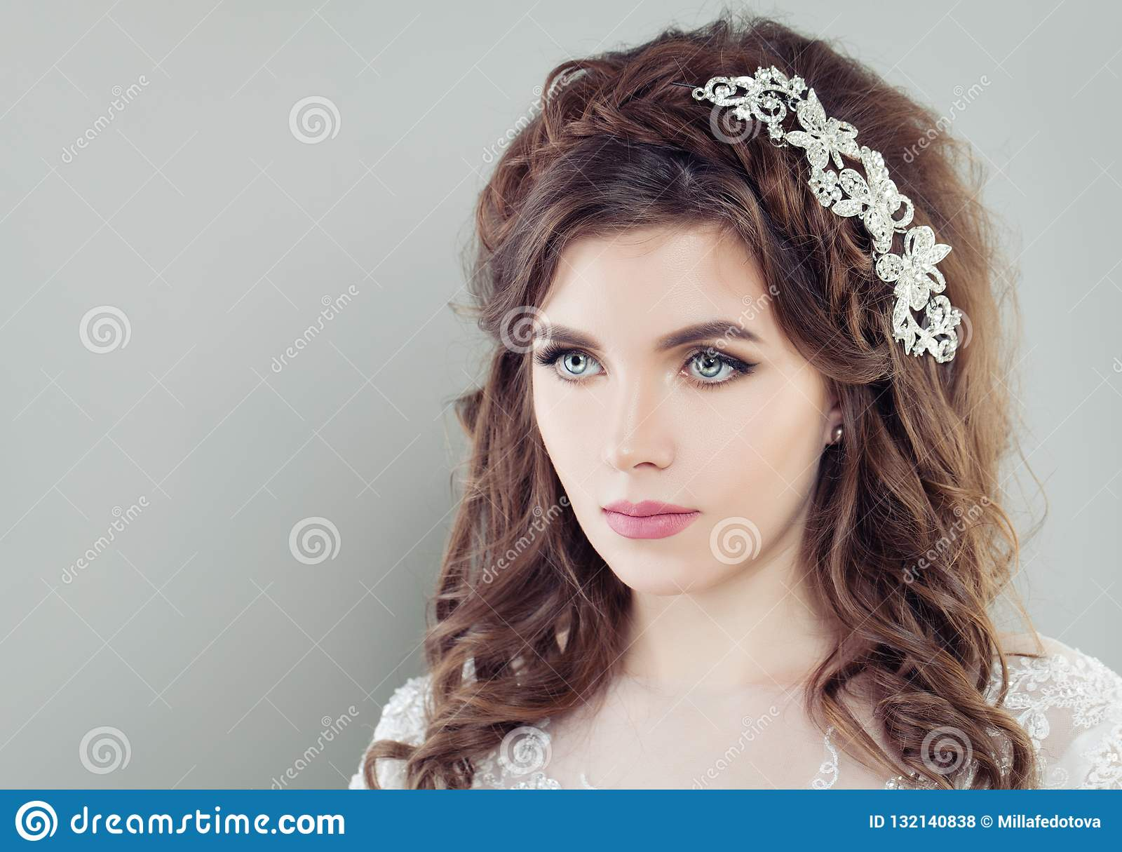 Attractive Bride With Makeup And Bridal Hair Stock Photo