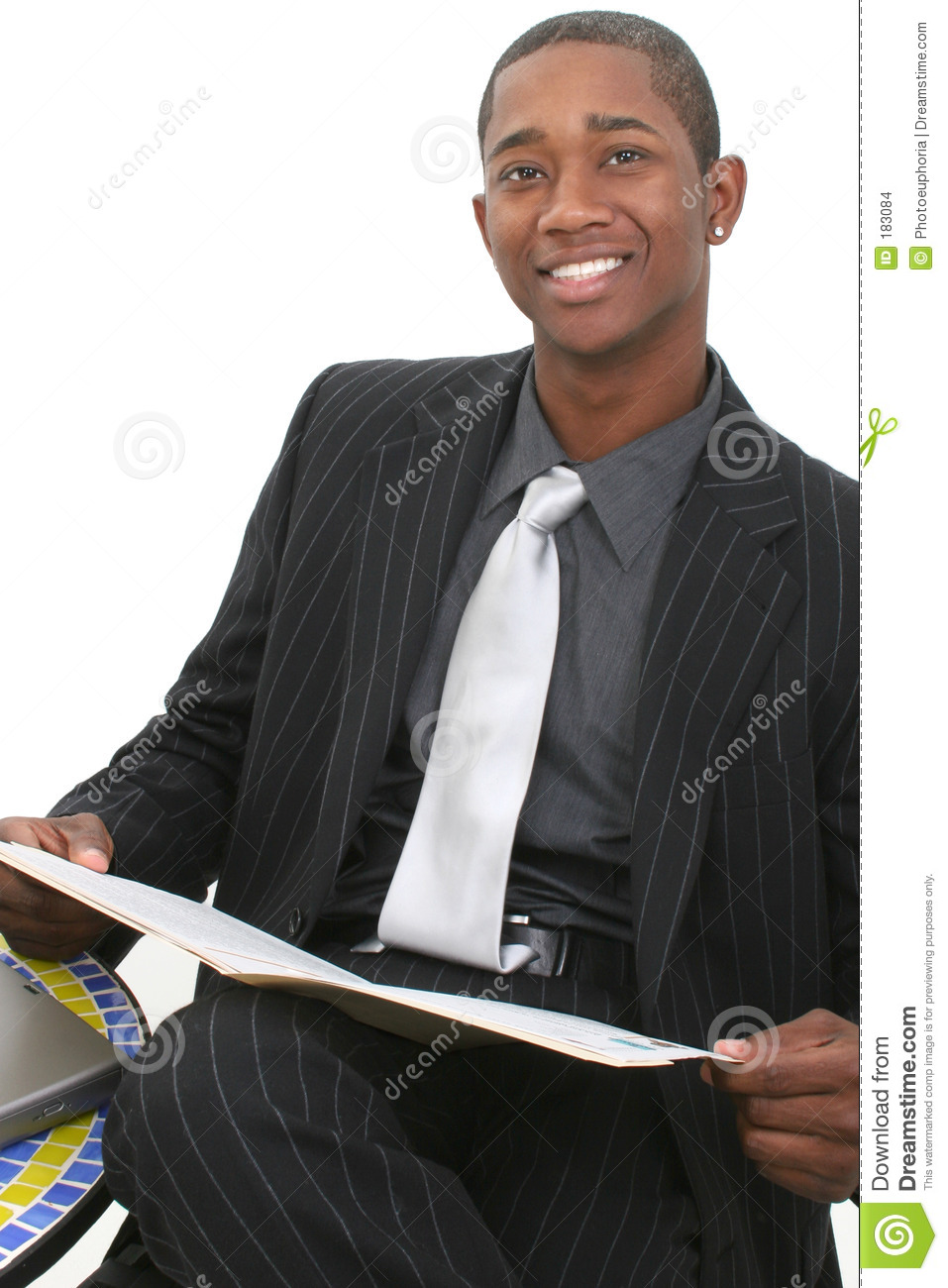 Attractive Business Man In Suit With File Folder And Big Smile