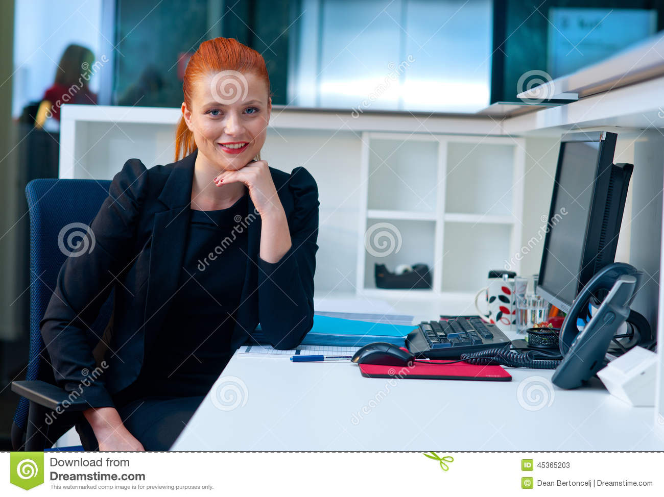 Attractive Business Woman In Office Cubicle Stock Image