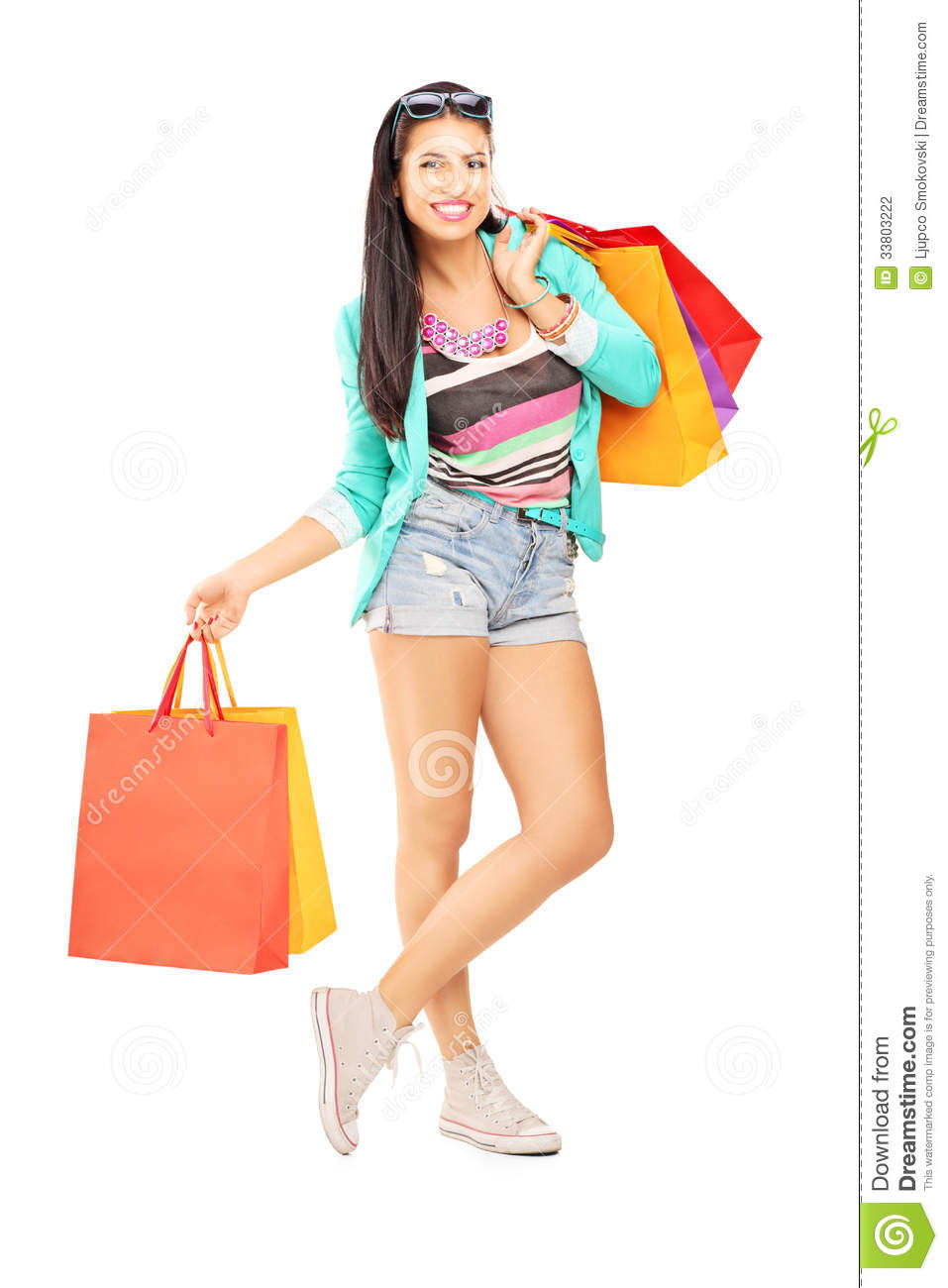 Woman posing with shopping bags isolated on white background full - Attractive Background Casual Female Full Isolated Length Many Portrait Posing Shopping White Beautiful Happiness Bag