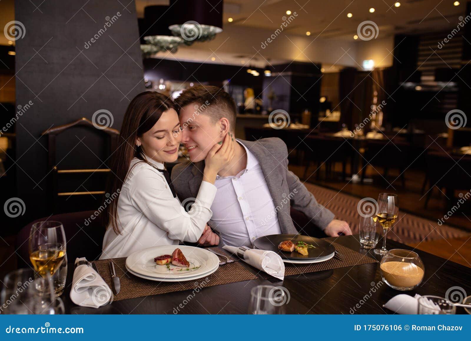 Attractive Caucasian Couple Enjoy Having Dinner In Luxury Restaurant Stock Photo Image Of Cheerful Relationships 175076106