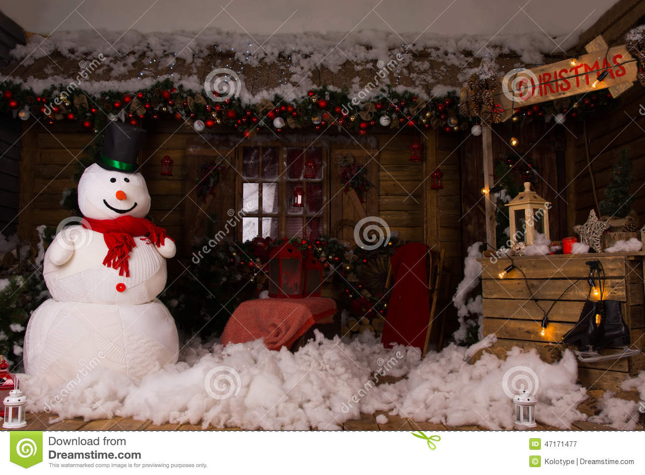 Attractive christmas decors inside a wooden house stock - Pictures of homes decorated for christmas on the inside ...