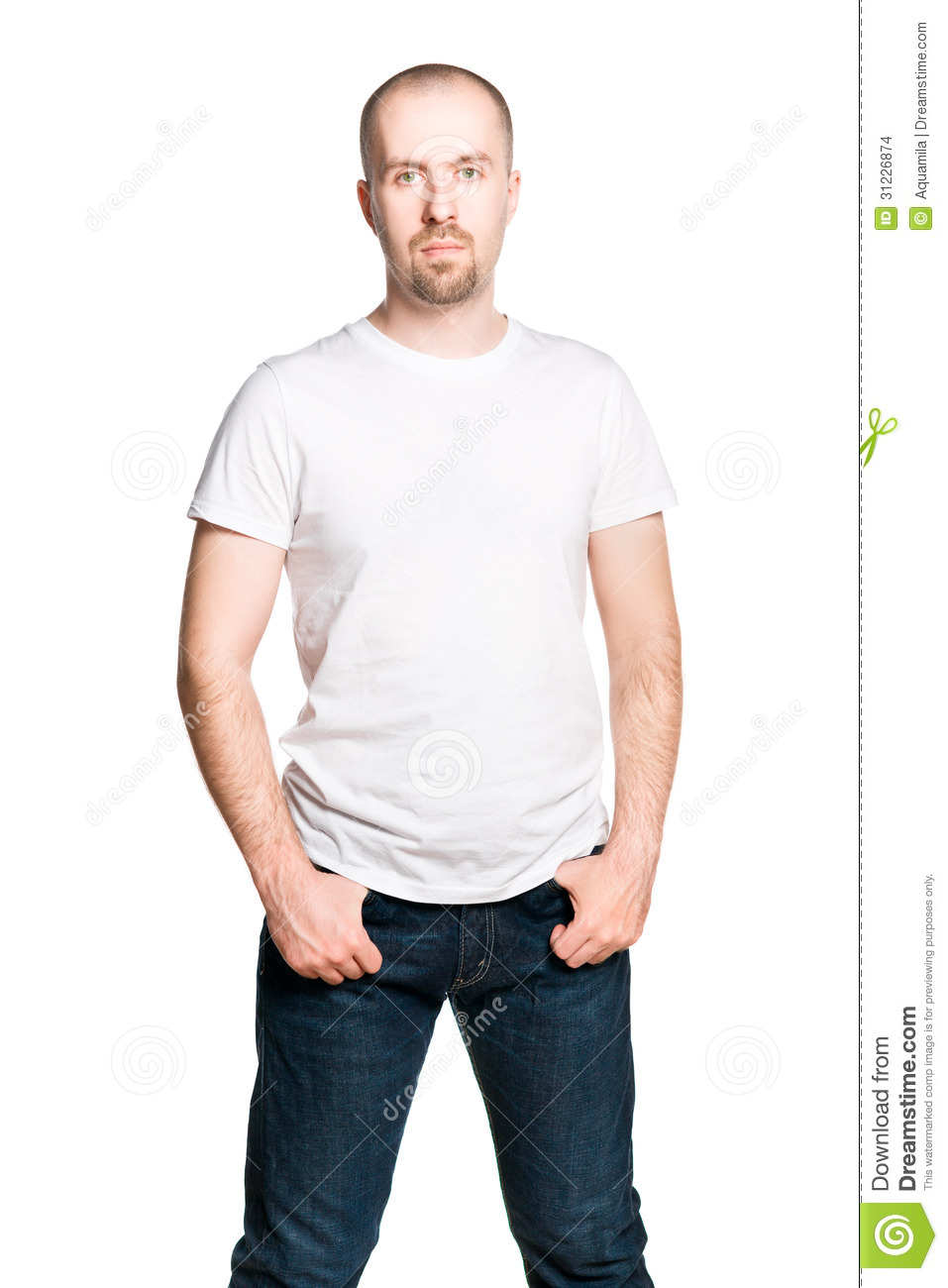 White t shirt and blue jeans - Attractive Confident Isolated Jeans Man Portrait Shirt T White