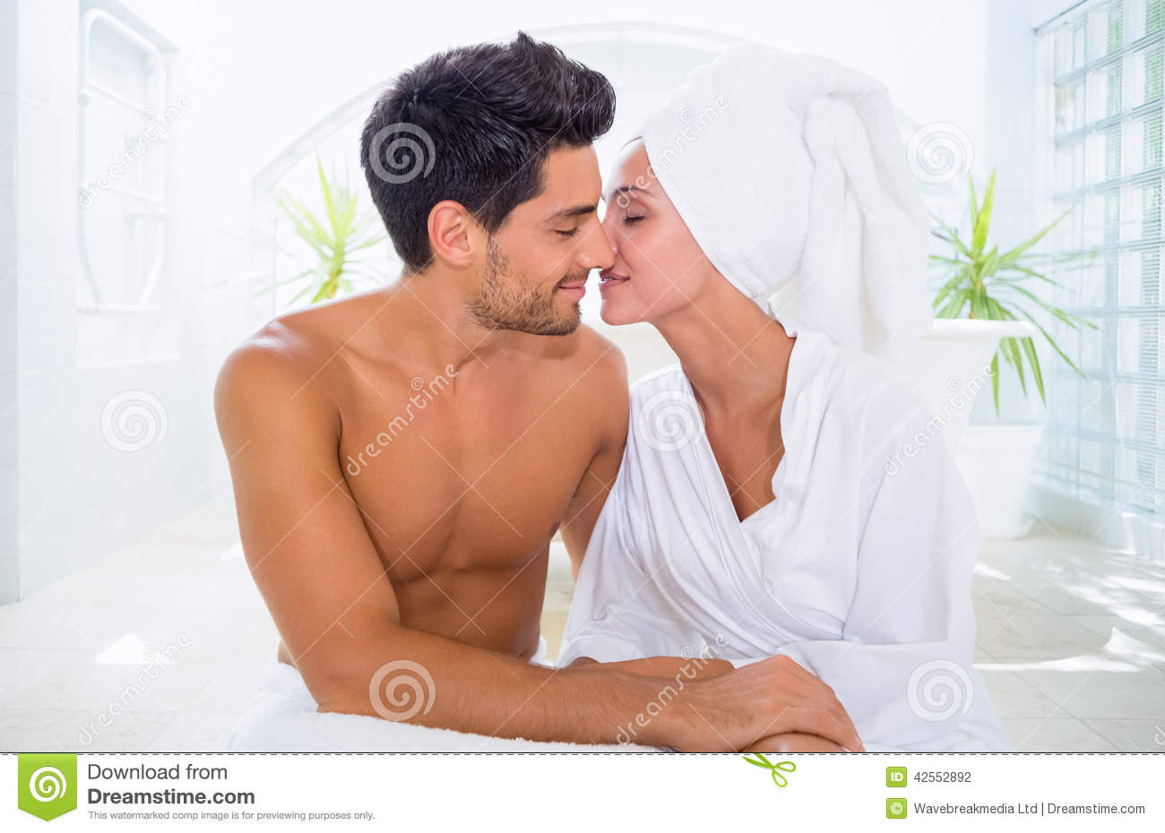 Kissing Couple In Bathroom