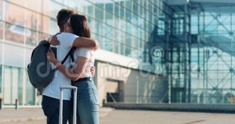 Attractive Couple In Love Saying Goodbye Near Airpotr Or Train Station Concept Of Departure Farewell Business Trip Stock Video Video Of Mixed Railway 122533507