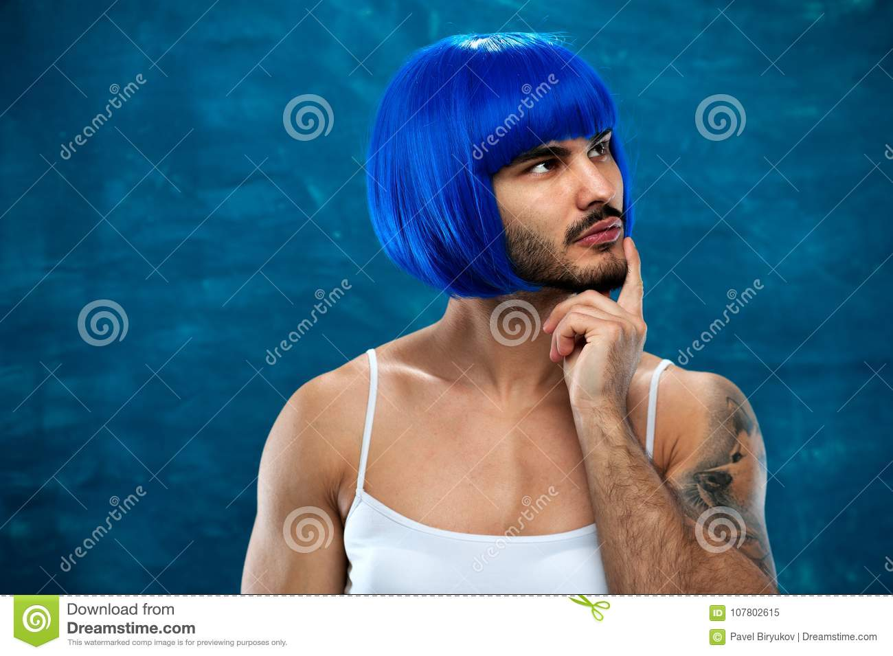 Attractive Cross Dressing Male Person In Blue Wig Stock Image ... 4a590fcd4