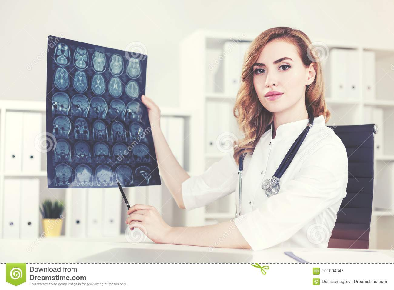 Attractive Doctor Showing An X Ray Image Stock Illustration ...