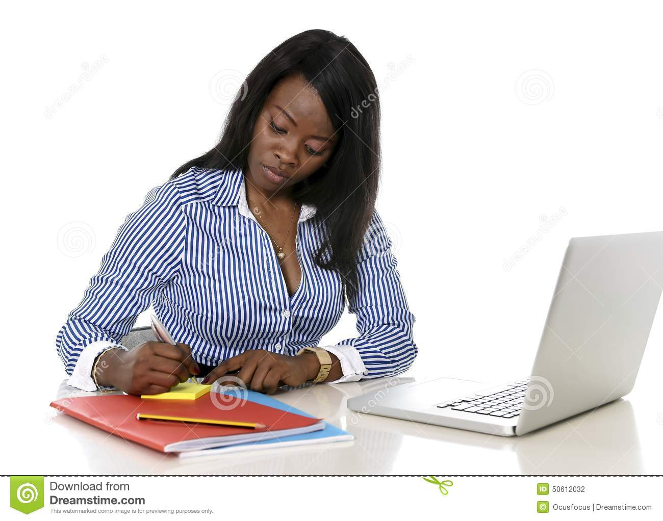 African American Woman Sitting At Desk ... - photo#32