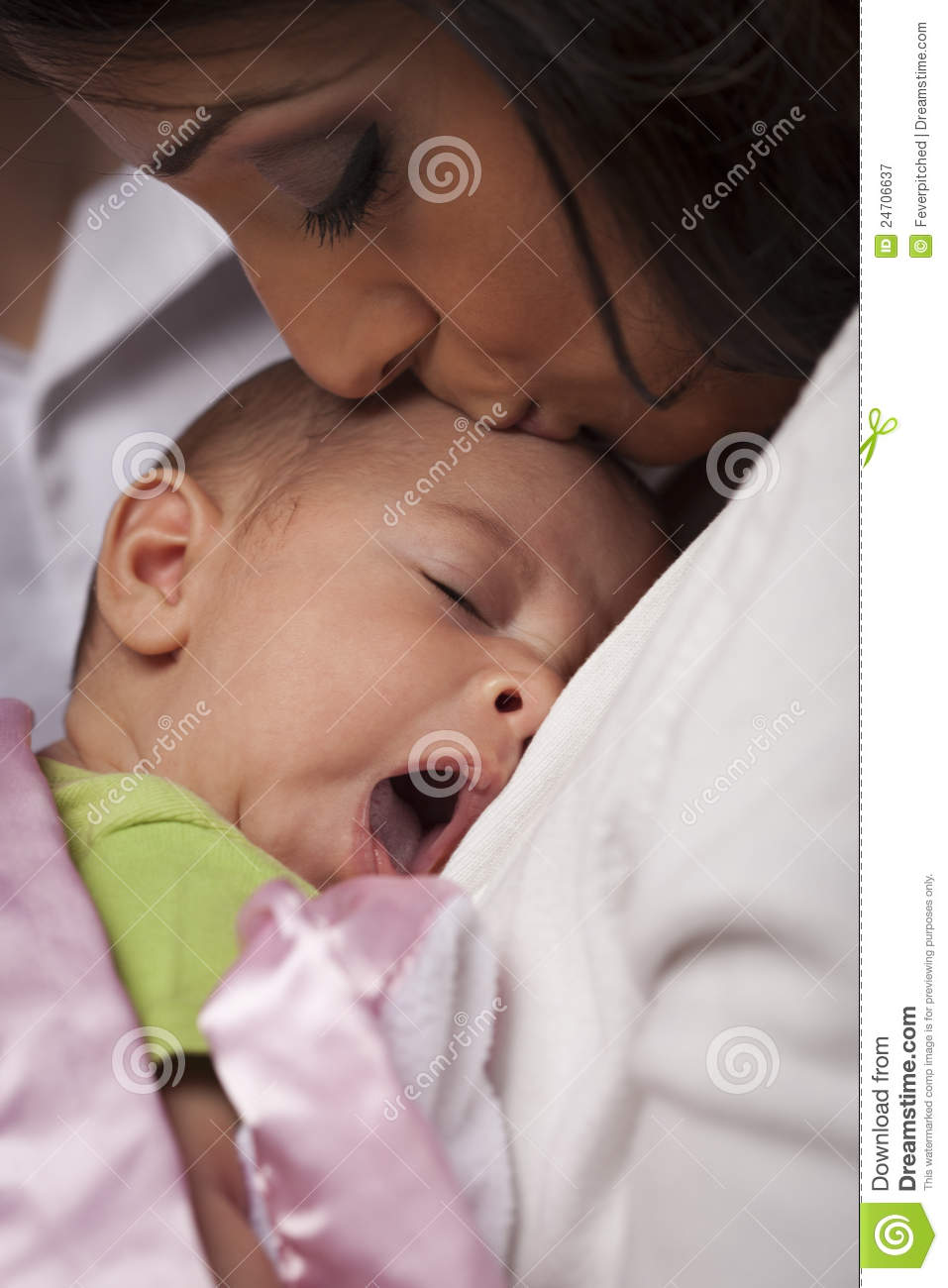 Attractive Ethnic Woman With Her Yawning Newborn Baby ...