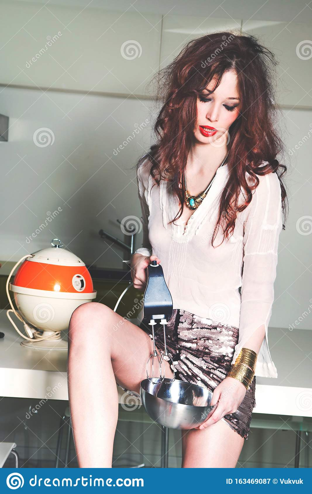 Fashion Girl In Mini Skirt With Mixer In The Kitchen Stock Image Image Of Slim Fashion 163469087