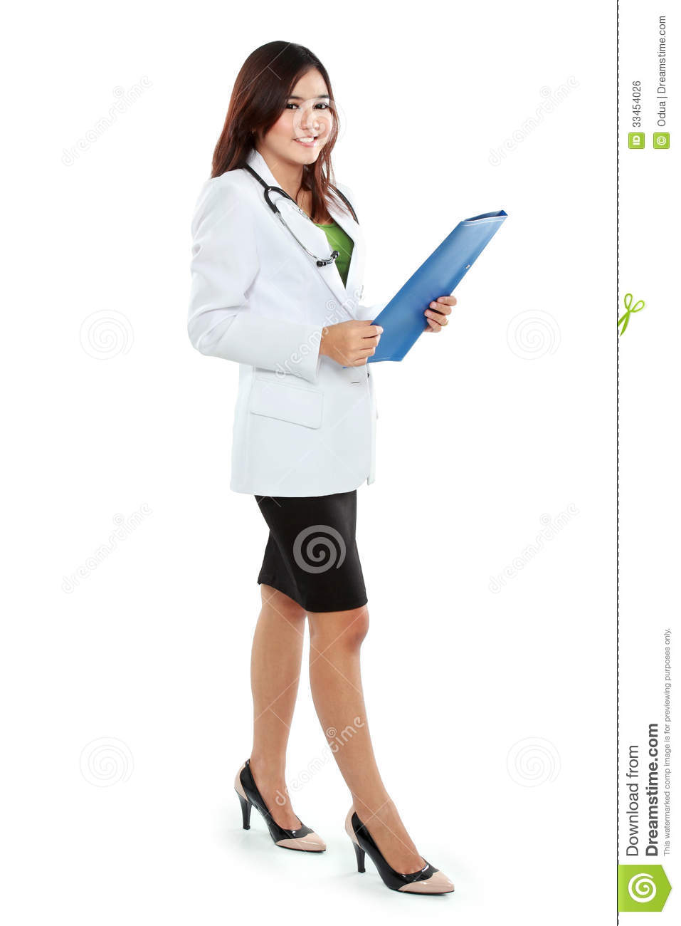 Attractive Female Doctor In Lab Coat Holding Clipboard Royalty ...