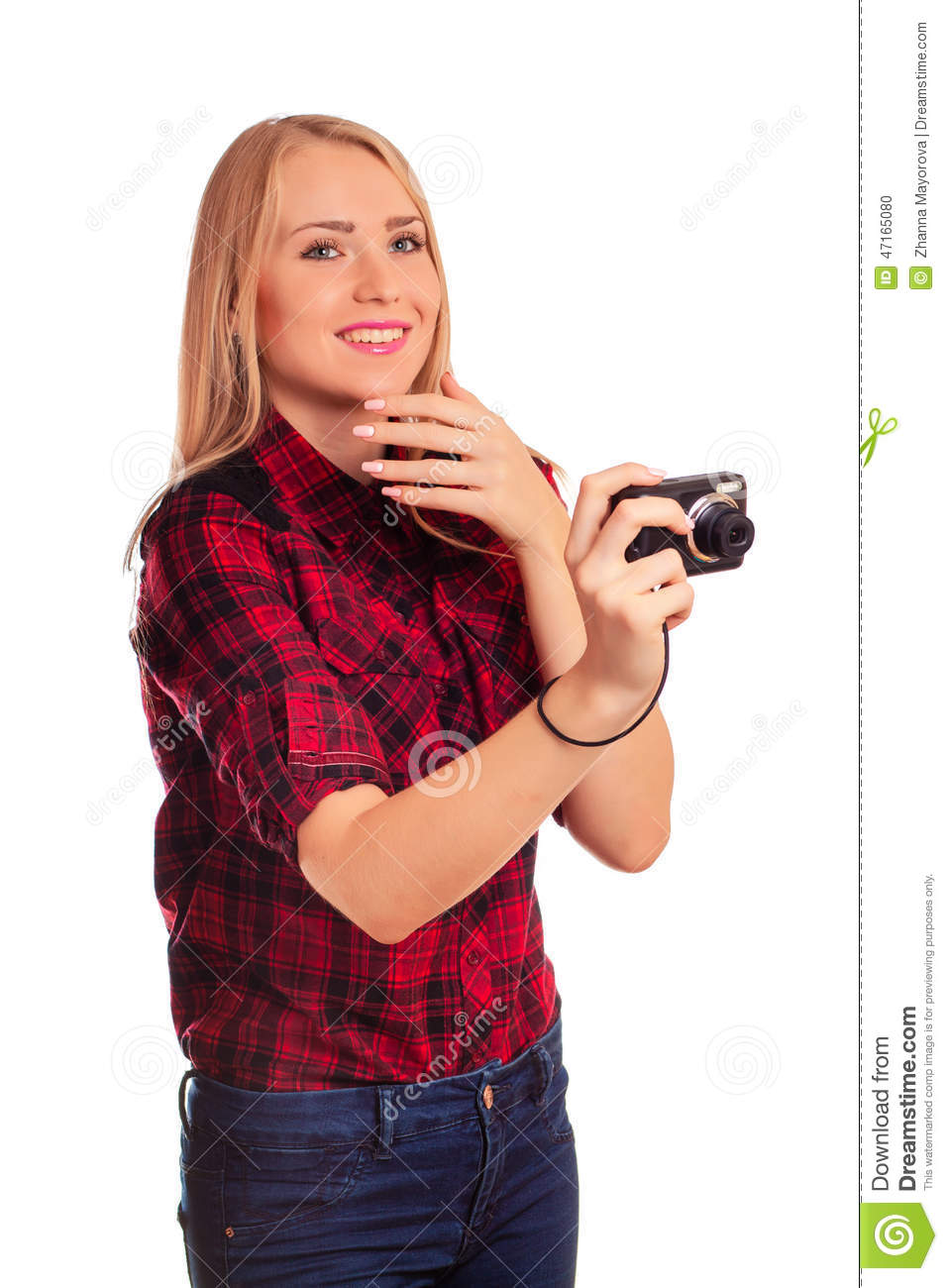 Attractive female photographer humiliating compact camera - isolated on white