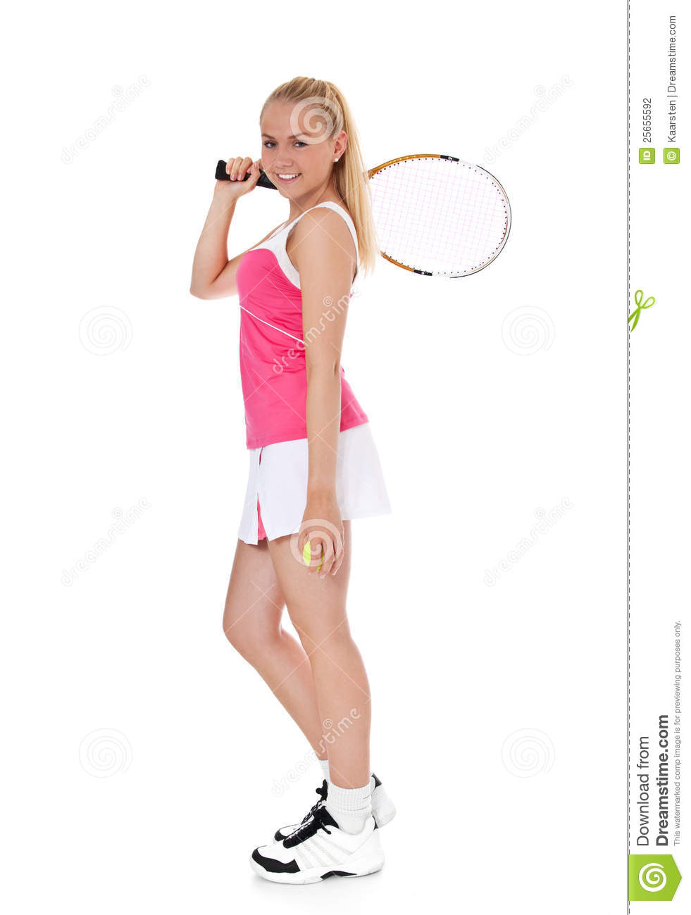 Full length shot of an attractive female tennis player all on white