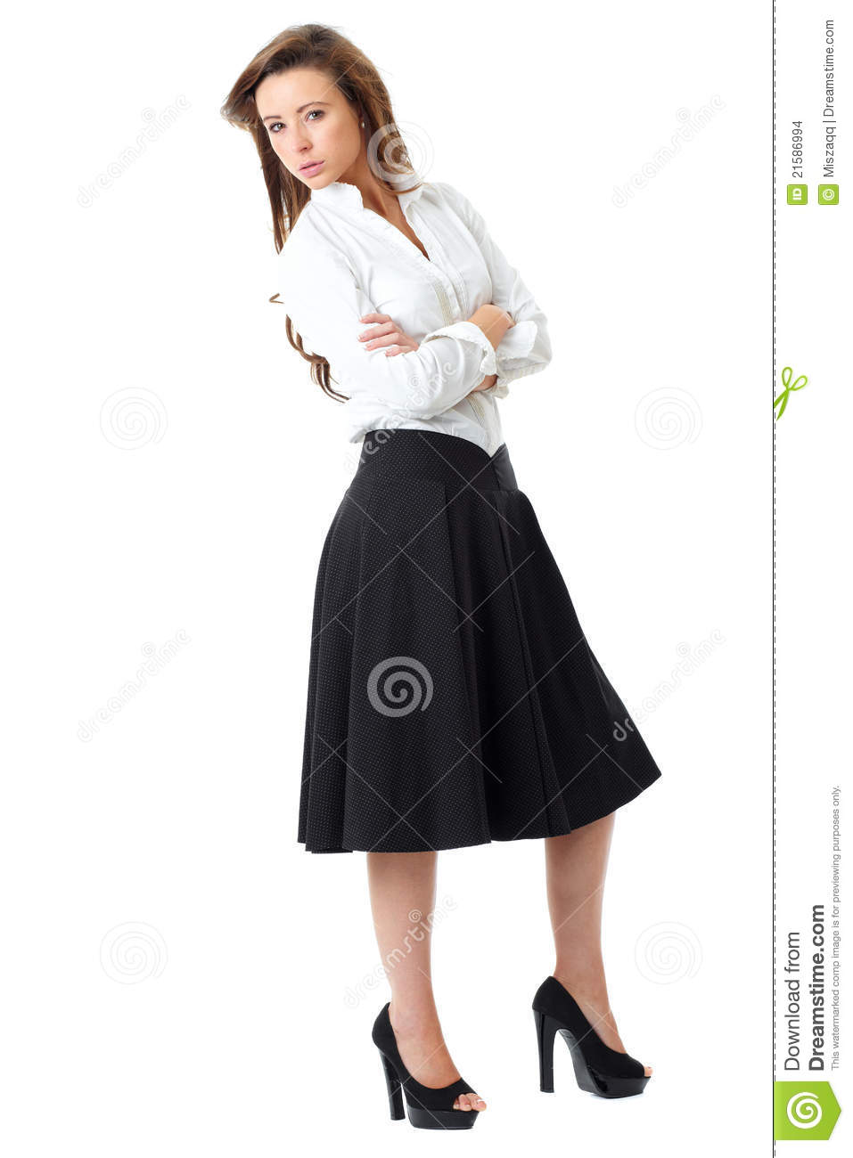 Attractive Female In White Shirt And Black Skirt Stock Photo - Image 21586994