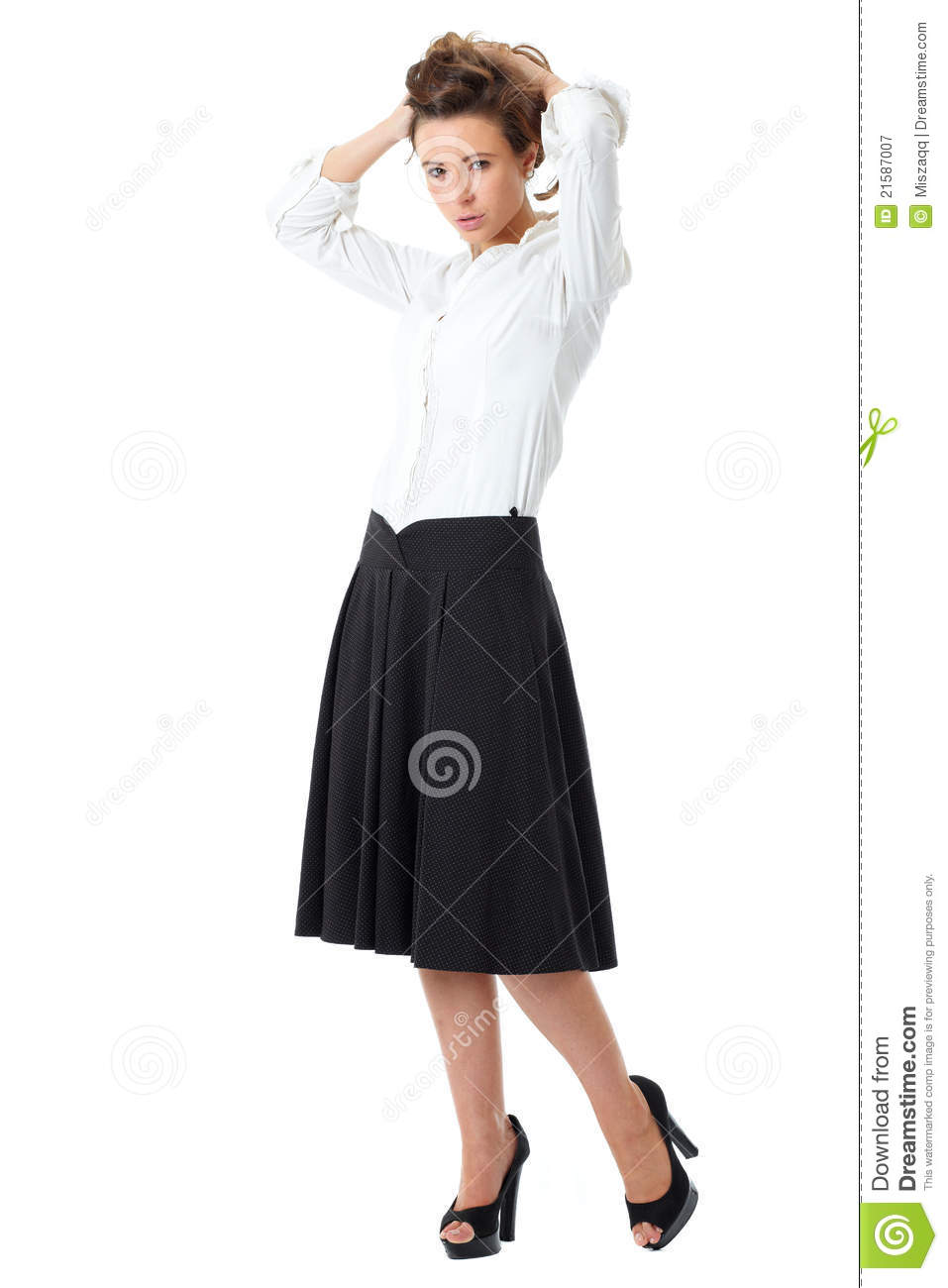 Attractive Female In White Shirt And Black Skirt Royalty Free ...