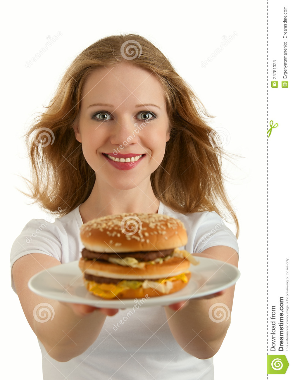 Unhealthy Food Plate Attractive Girl Holds ...