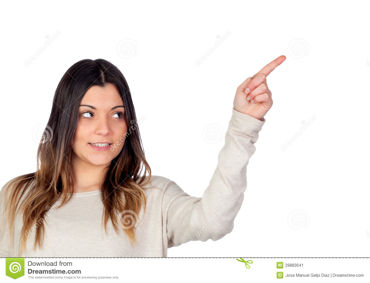 Attractive Girl Indicating Something With The Finger Stock -9180