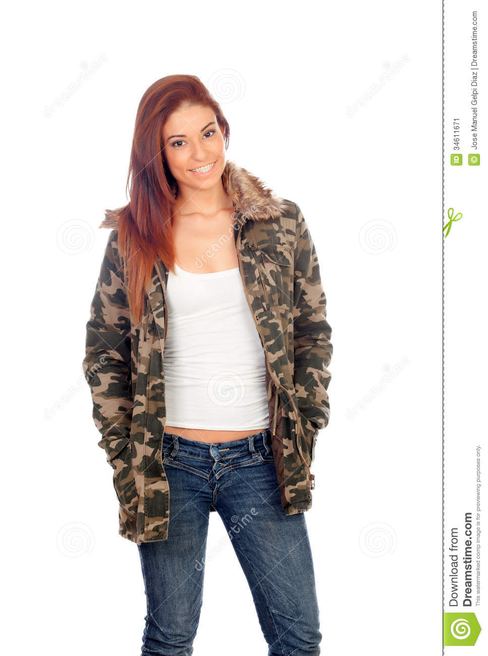 Attractive Girl With Military Style Jacket Stock Image - Image
