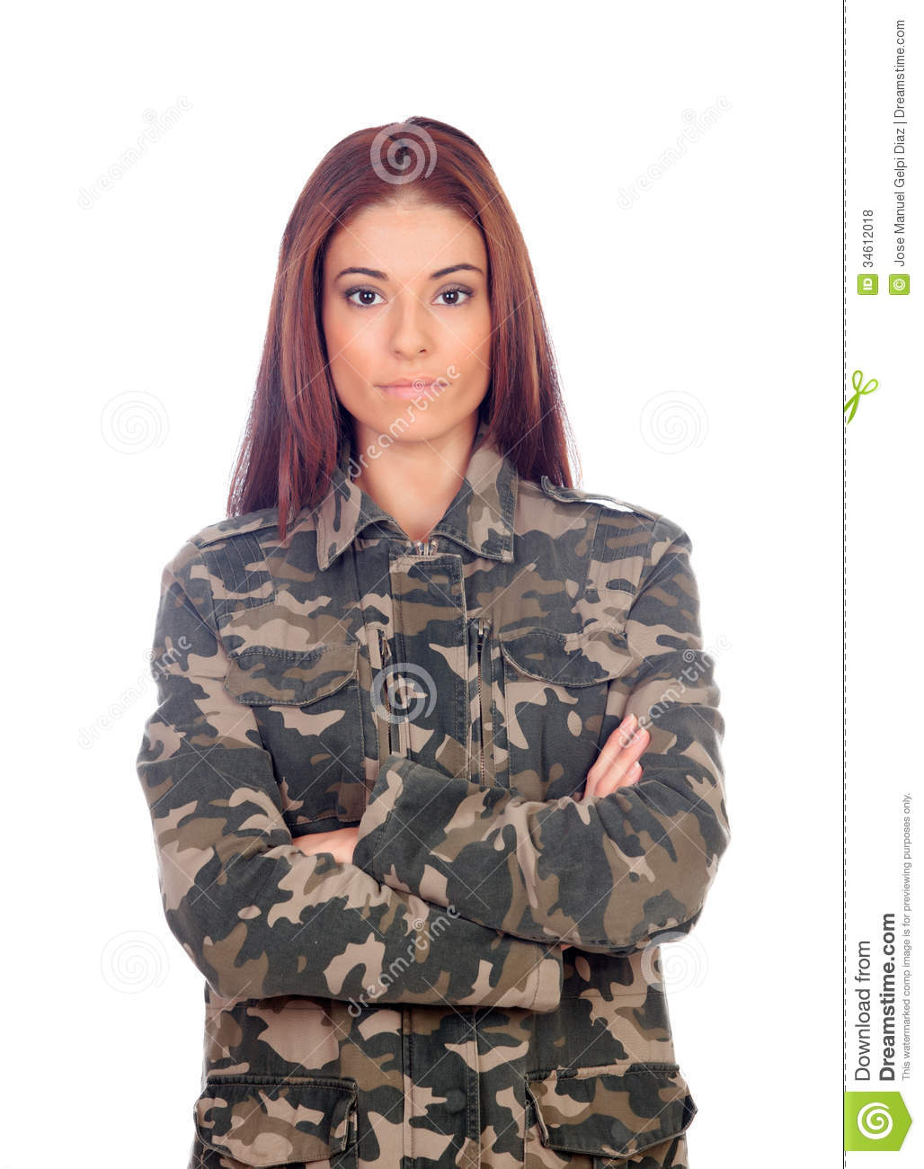 Attractive Girl With Military Style Jacket Royalty Free Stock
