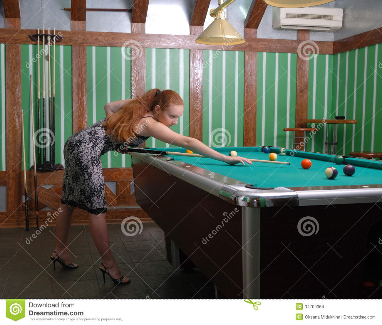Attractive Girl Playing Billiards Stock Photo Image