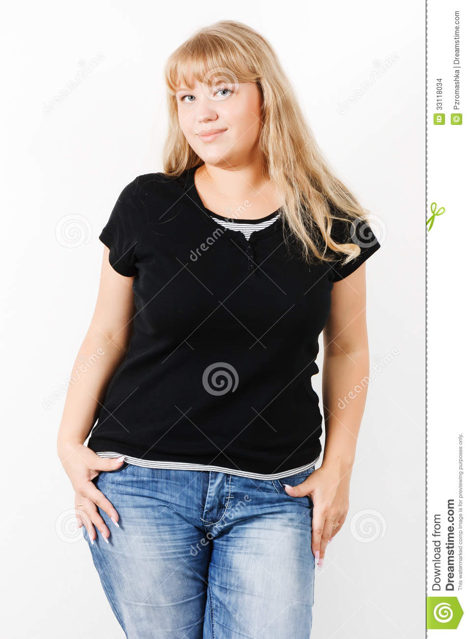 Attractive girl posing standing stock images image 33118034 Black shirt blue jeans