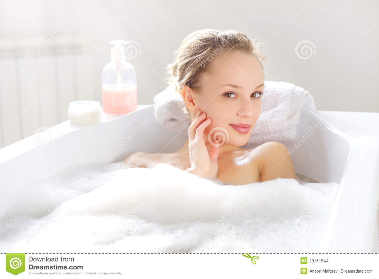 Attractive Girl Relaxing In Bath Stock Images - Image ...
