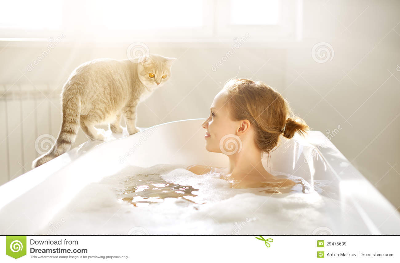 An Attractive girl relaxing in bath