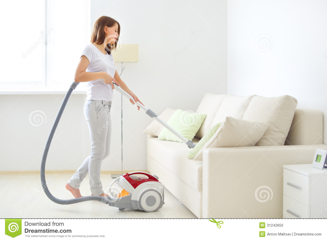 Attractive Girl With Vacuum Cleaner Stock Photo Image