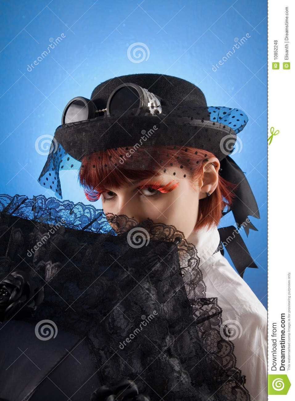 Attractive girl in Victorian style clothes