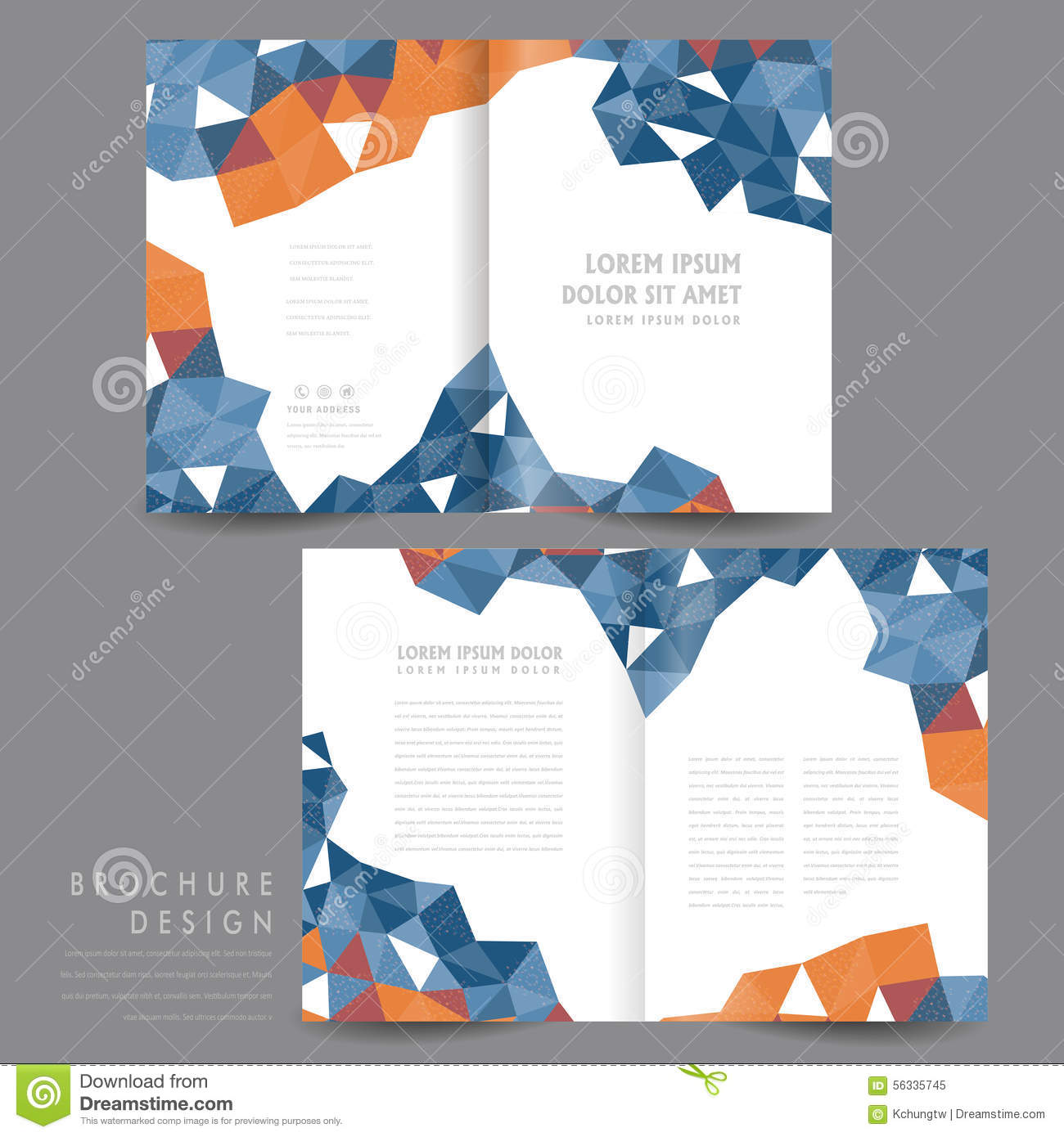 attractive half fold brochure template design