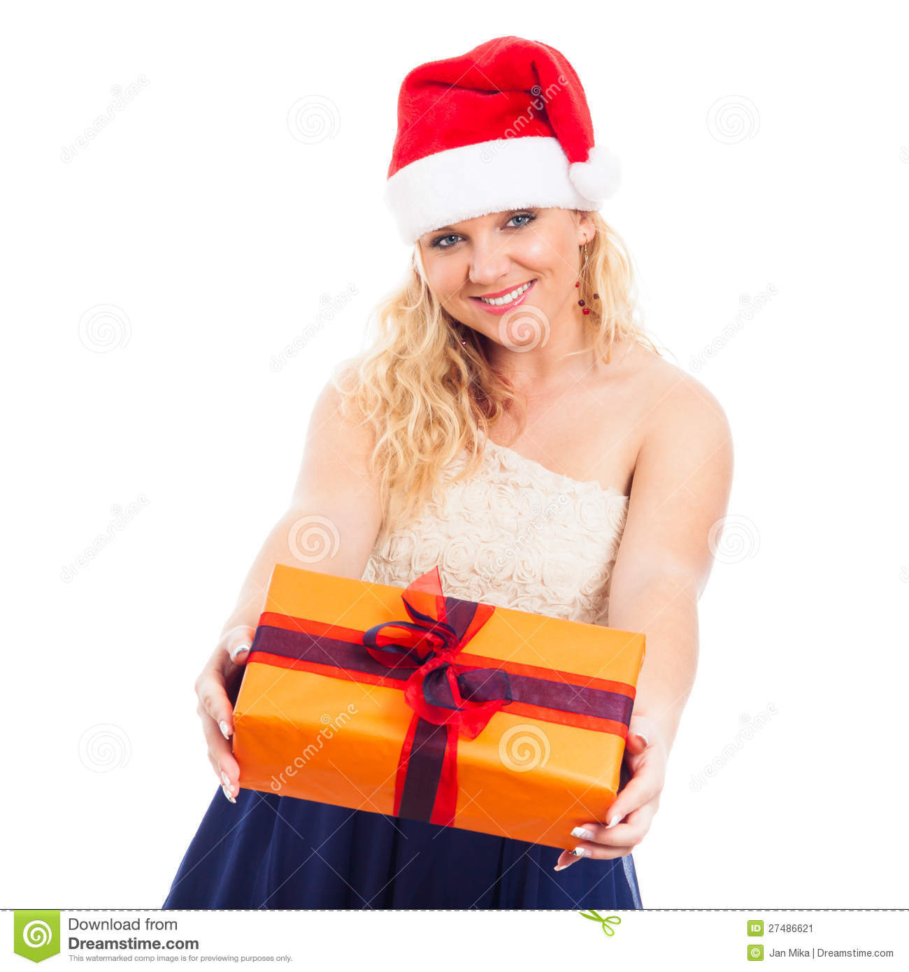 Attractive Happy Woman Santa With Christmas Gift Stock