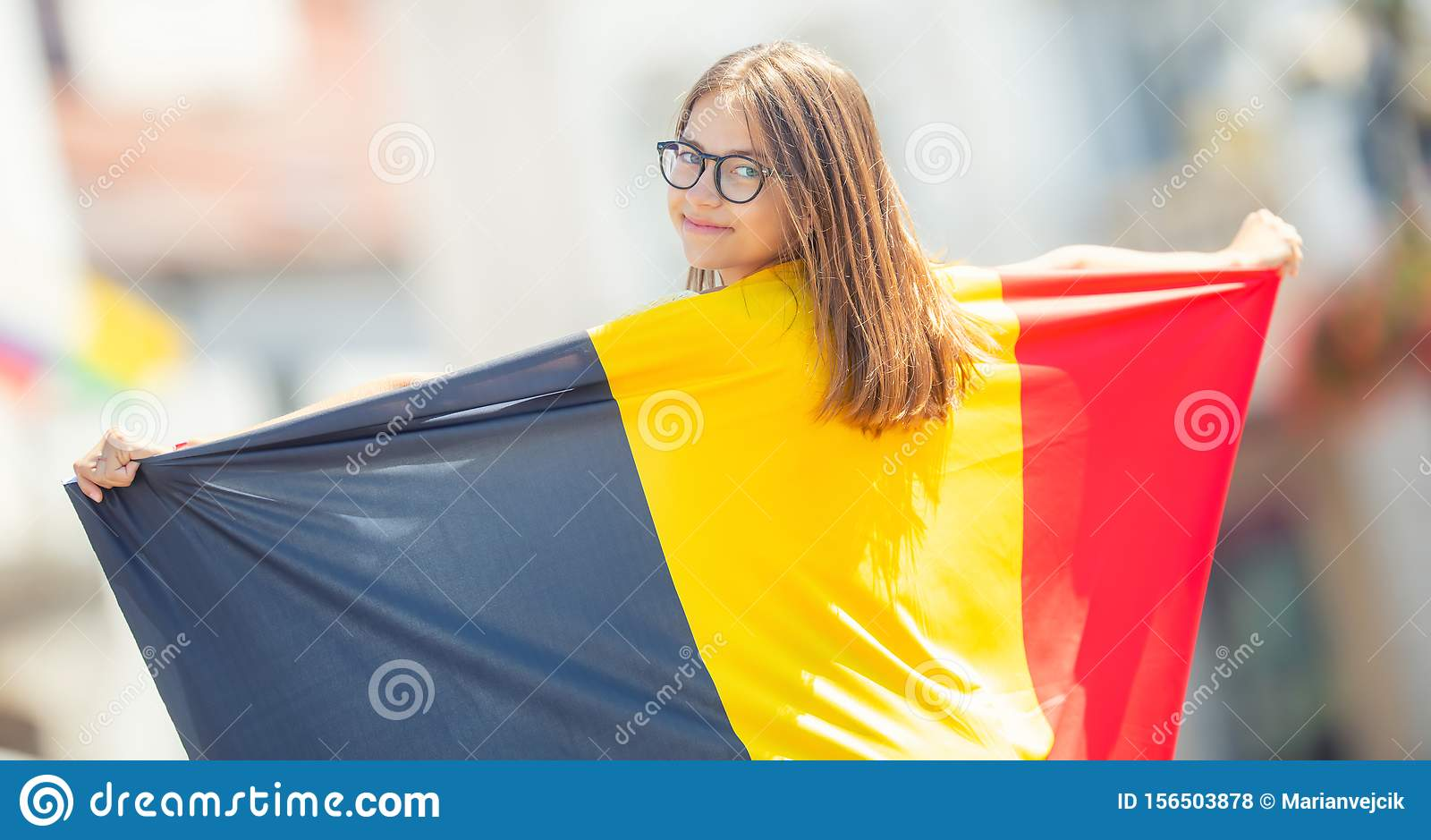 Attractive Happy Young Girl With The Belgian Flag Stock ...