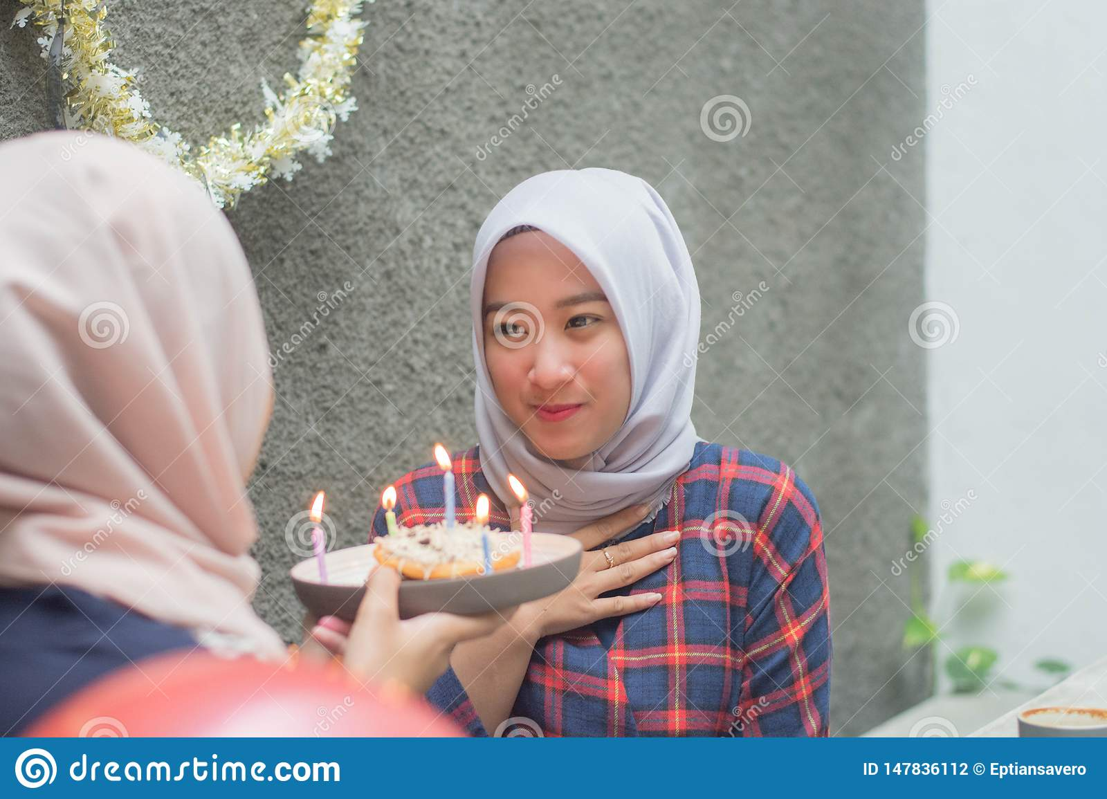 Groovy Attractive Hijab Woman Having Surprise Birthday Cake From Her Funny Birthday Cards Online Elaedamsfinfo