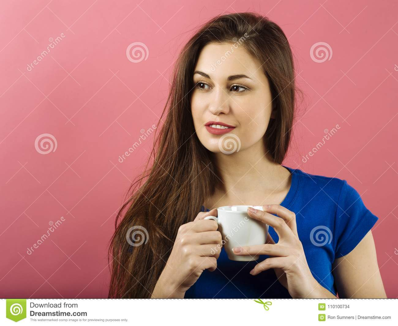 Attractive lady drinking coffee