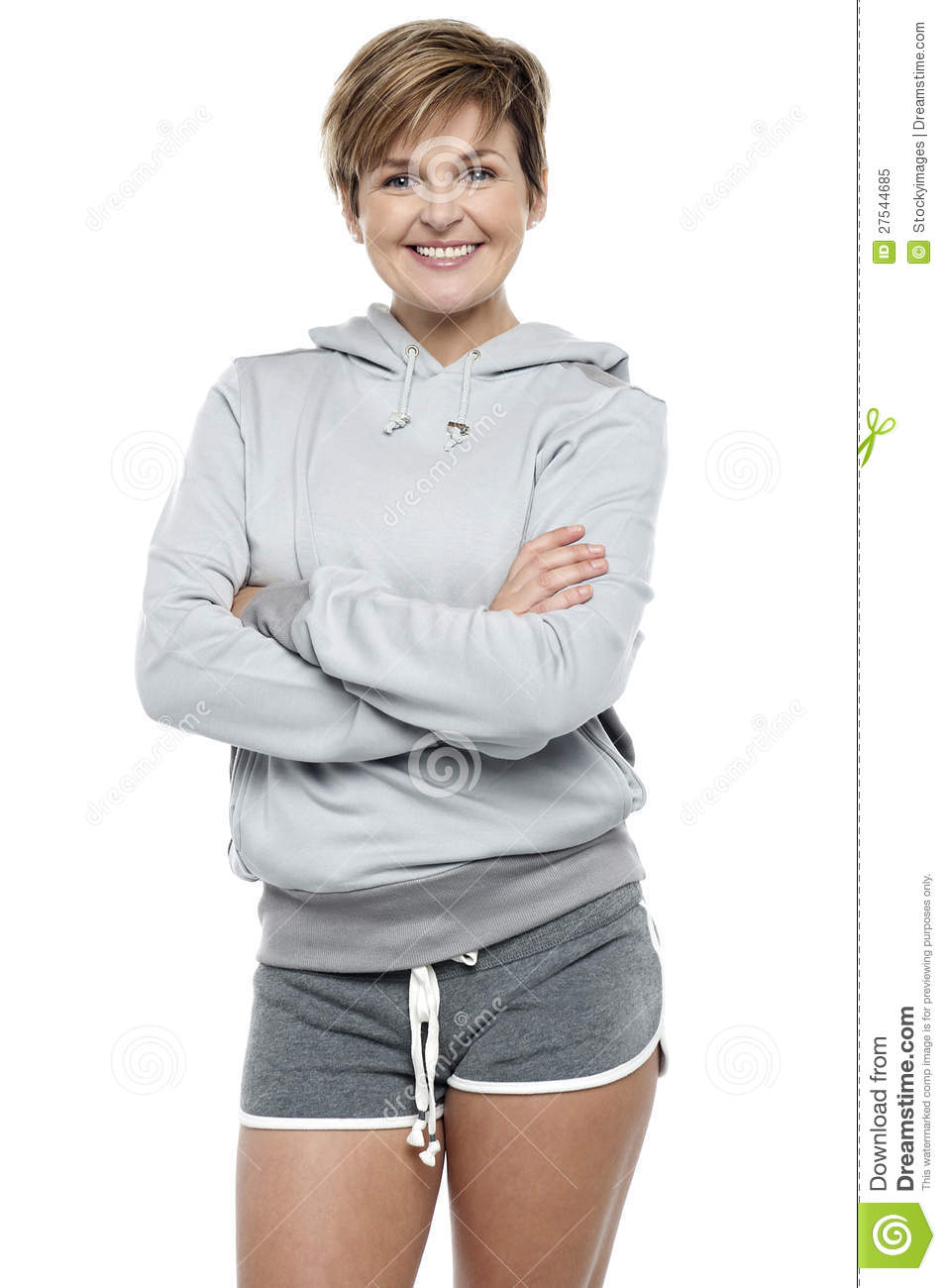 Attractive Lady Wearing Winter Sweater And Shorts Royalty ...